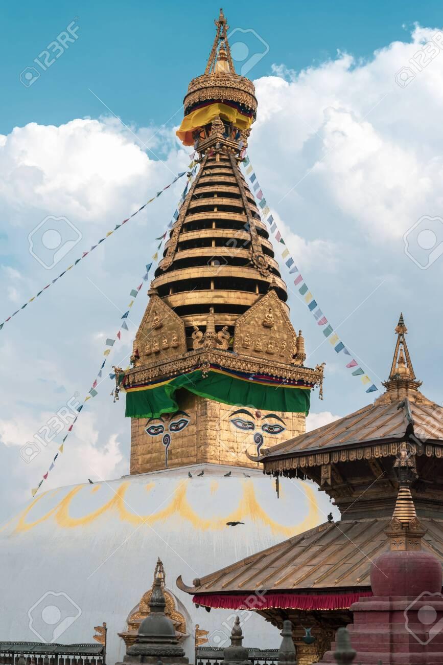 Swayambhunath Stupa the monkey templeSacred Buddhist home of some spiritual monkey, Kathmandu Nepal - 128411920
