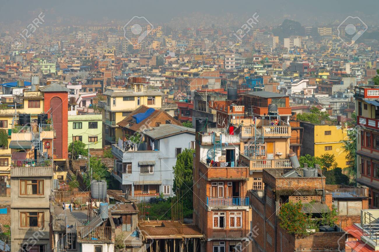 Kathmandu cityscape scenery view from rooftop in a hotel, Nepal - 128412562