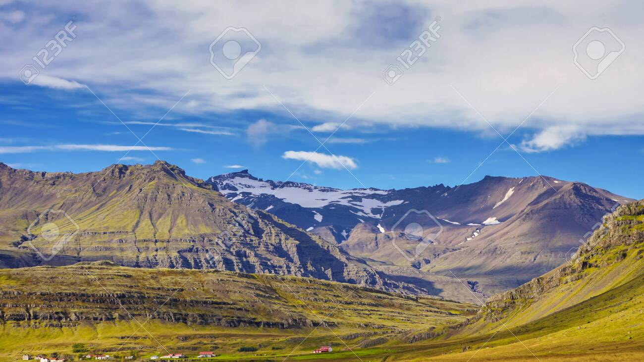 The volcanic mountain range and hill. Beautiful perspective view rural scene landscape.The photo taken from near reykjavik city south of Iceland. - 132199320