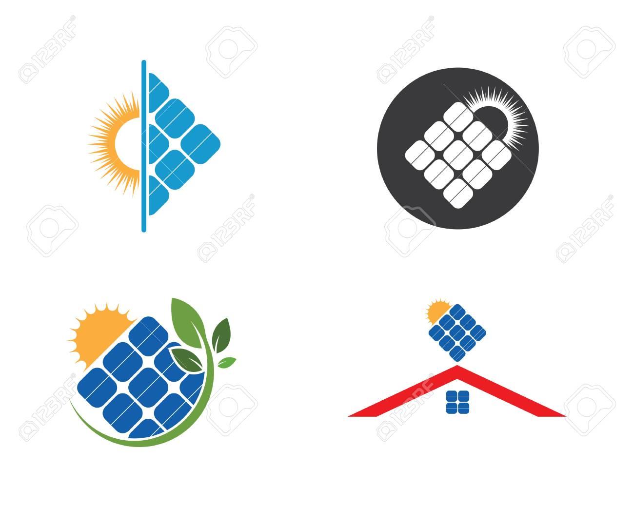 solar panel logo vector icon of natural energy - 122147901