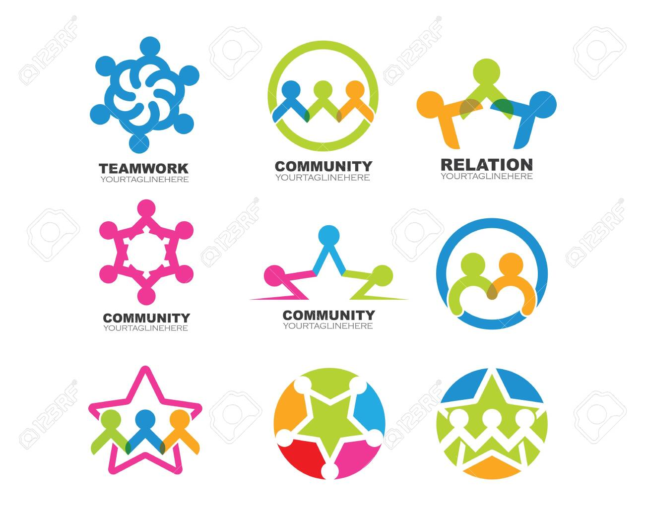 Community, network and social icon design template - 136969441