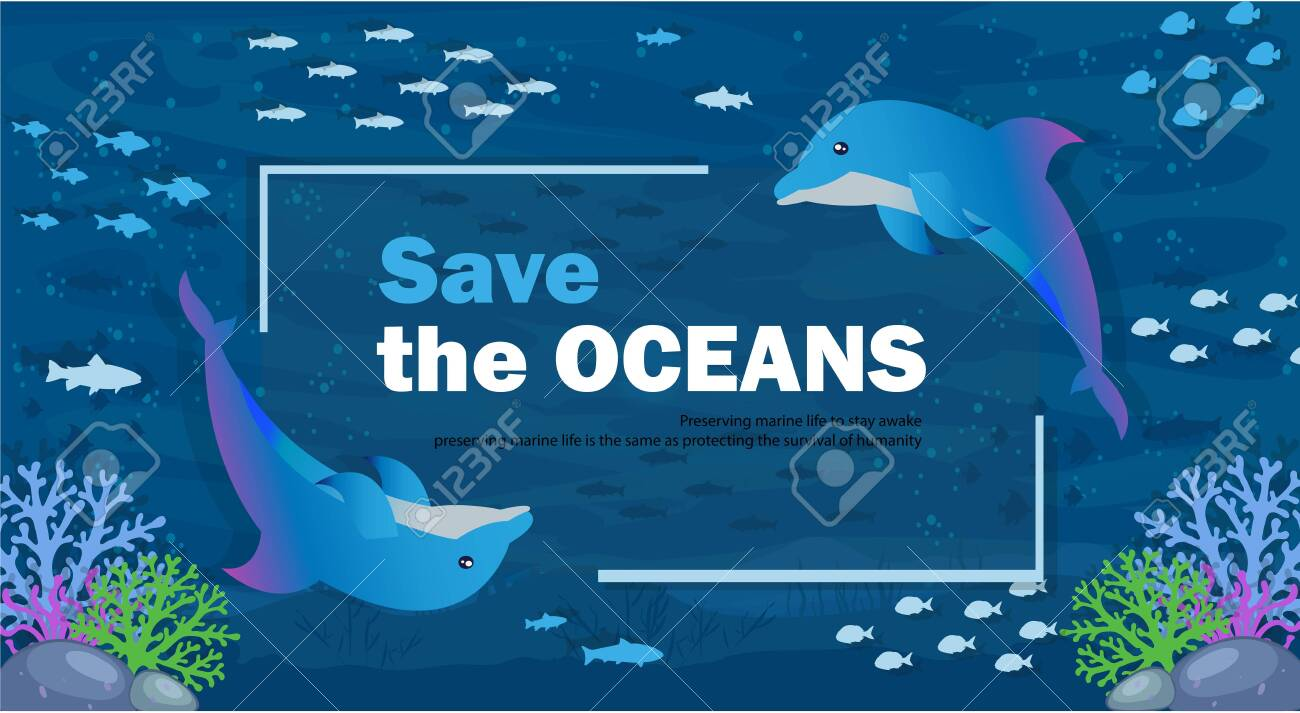 Vector Illustration World Sea Day Saves the Ocean with All Living Things in It - 147615349