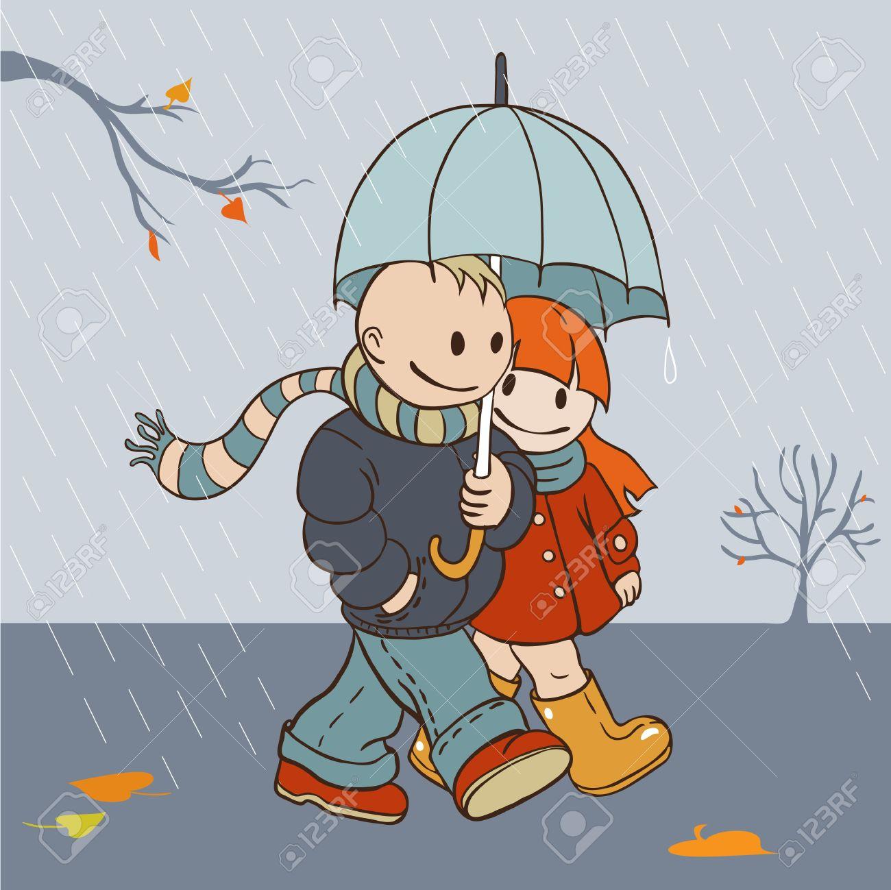 Illustration in cartoon style  autumn rainy day lovers walking under an umbrella Stock Vector - 15957670