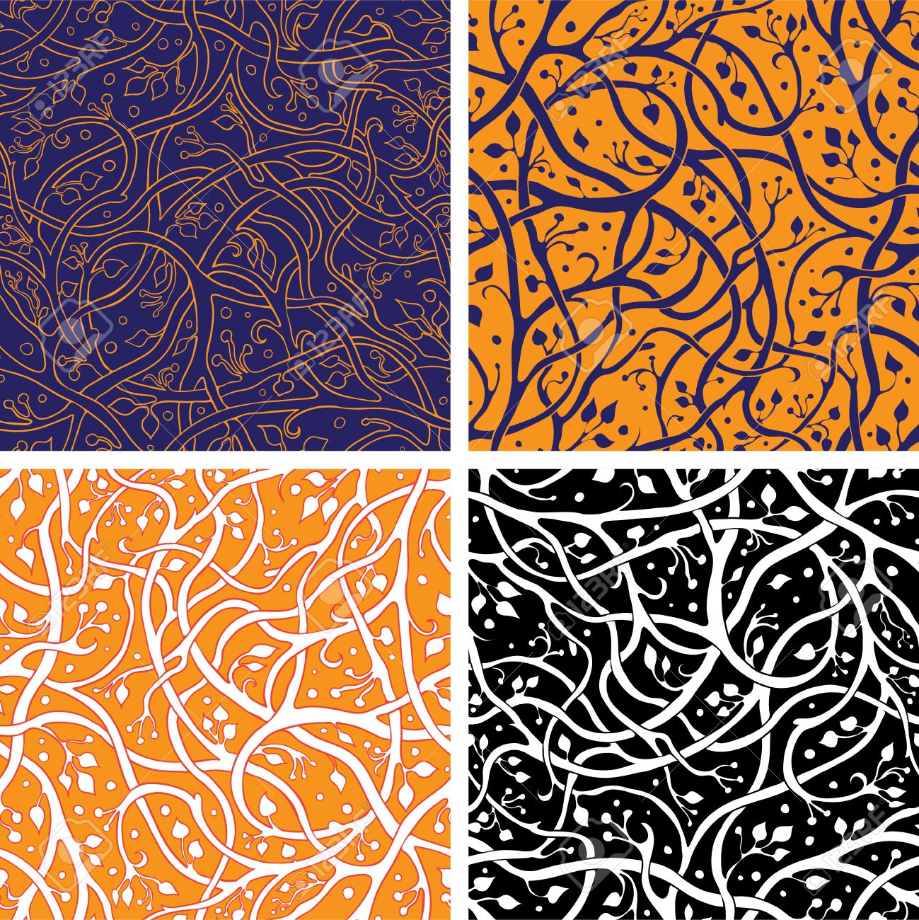 Four pattern with intertwining branches Stock Vector - 15957674