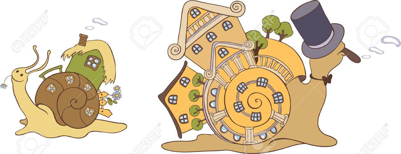 Two snails with their mobile homes Stock Vector - 16084771