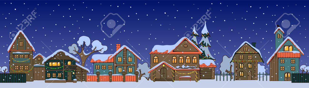 Christmas Houses.Street Of Small Christmas Houses In A Cartoon Style