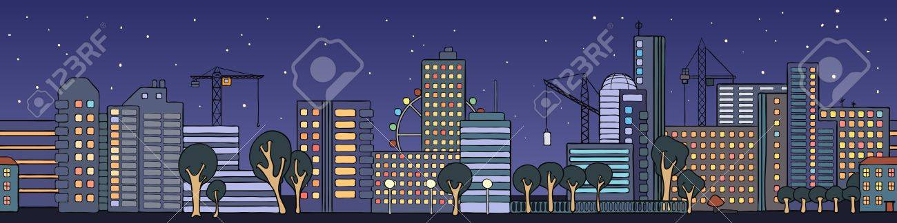 Street of night city houses in a cartoon style Stock Vector - 16439852