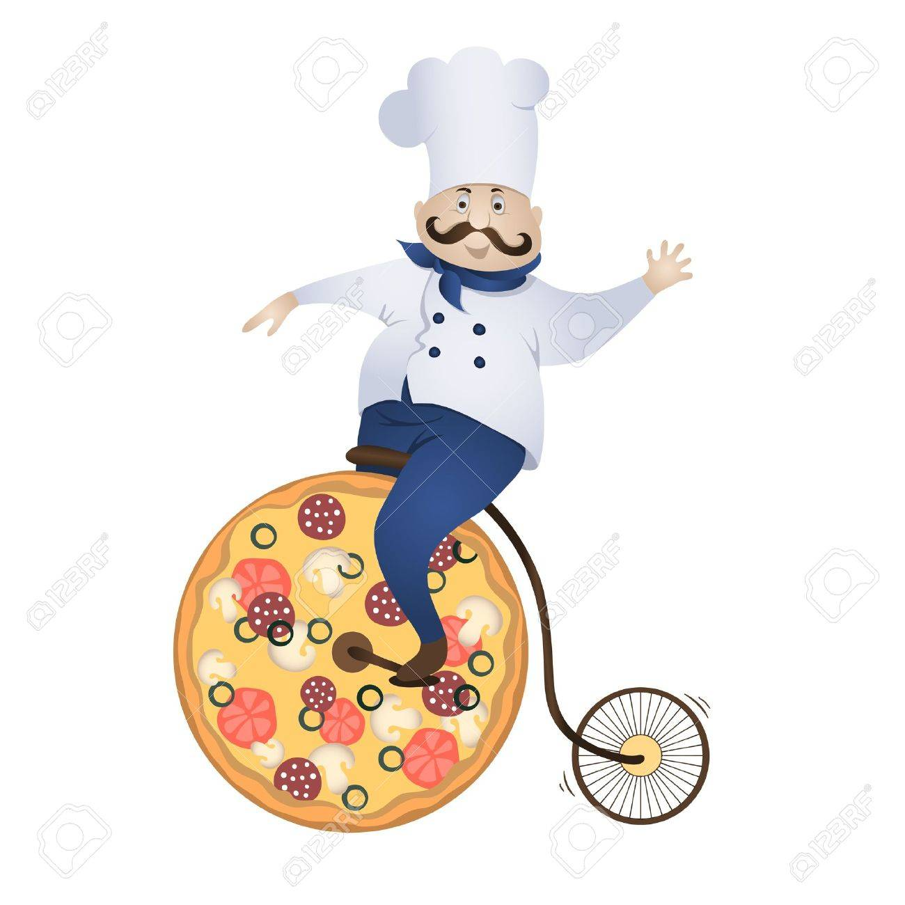 Delivery pizza chef rides a bicycle wheel which - is pizza Stock Vector - 17596923