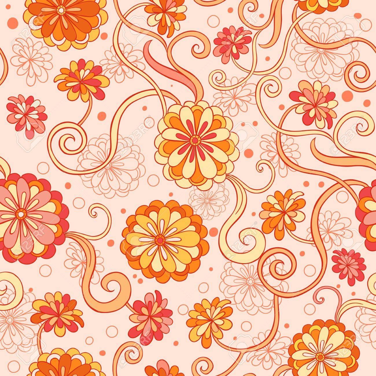 De Fondo Sin Fisuras Con Las Flores Estilizadas En Colores Cálidos