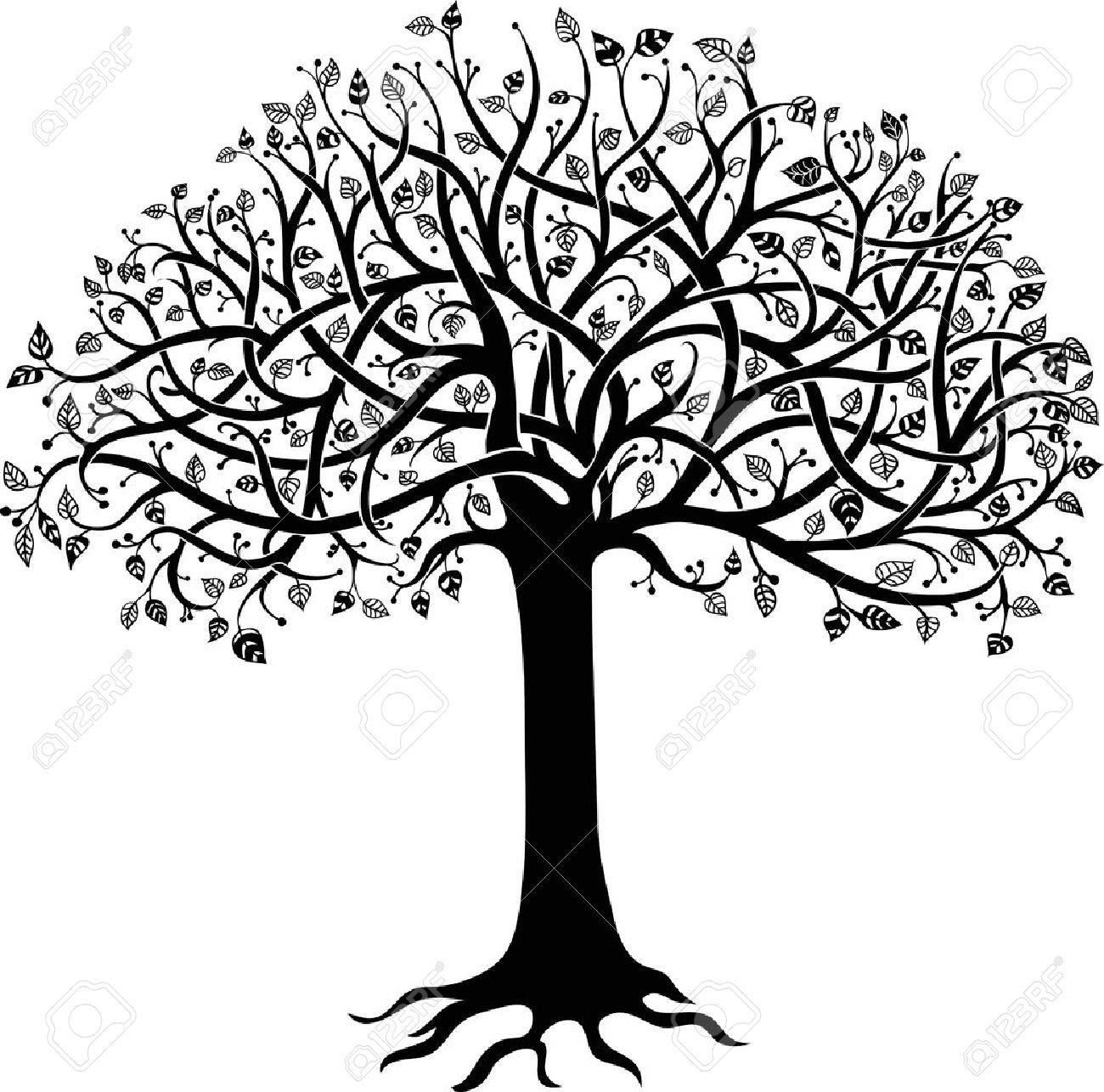 Negro Silueta De Un árbol Sobre Un Fondo Blanco Ilustraciones