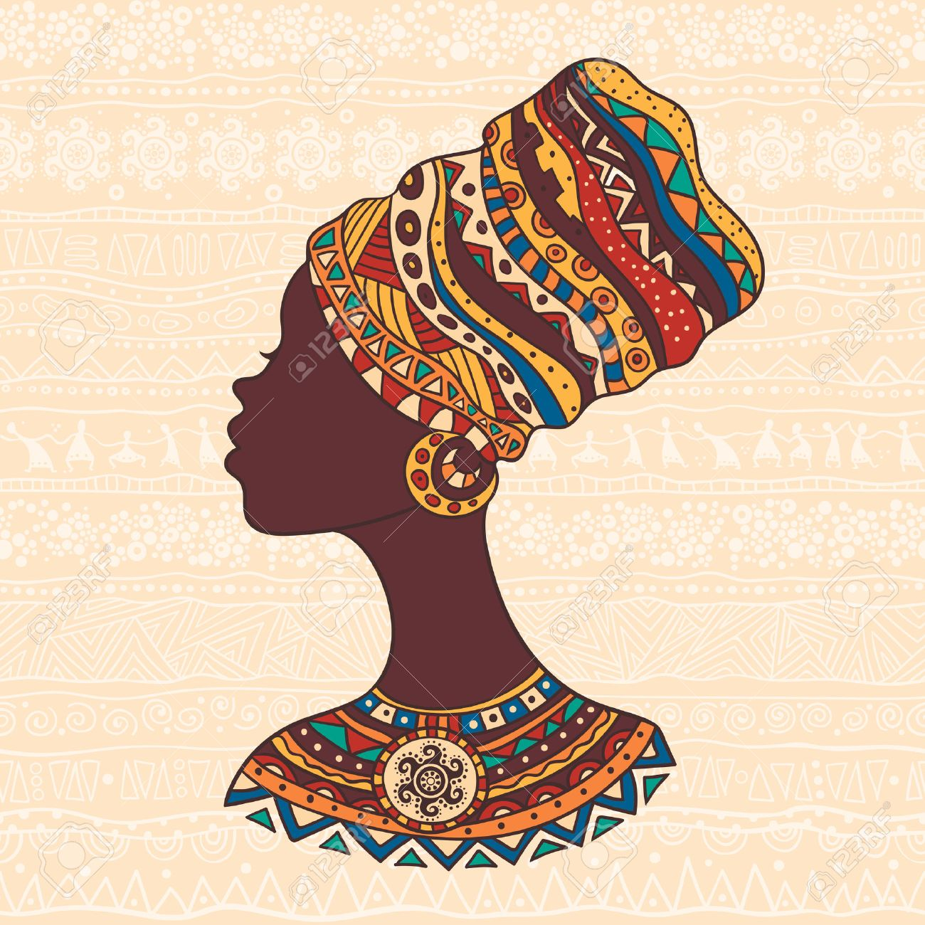 The bright decorative illustration with African patterns. Can be used in fabric design for making of clothes, accessories, creating decorative paper, wrapping, envelope, in web design - 53929878