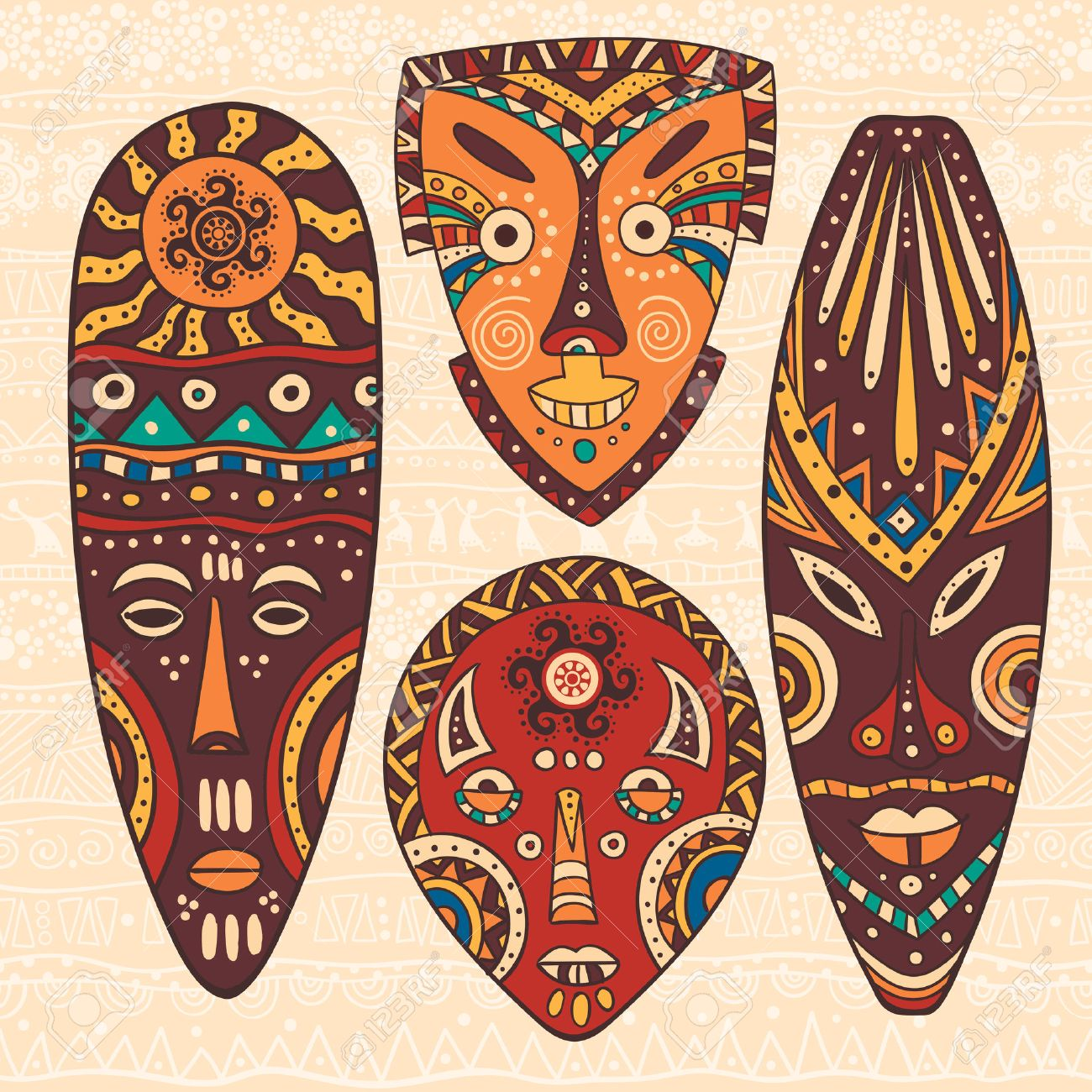 The bright decorative illustration with African patterns  Can