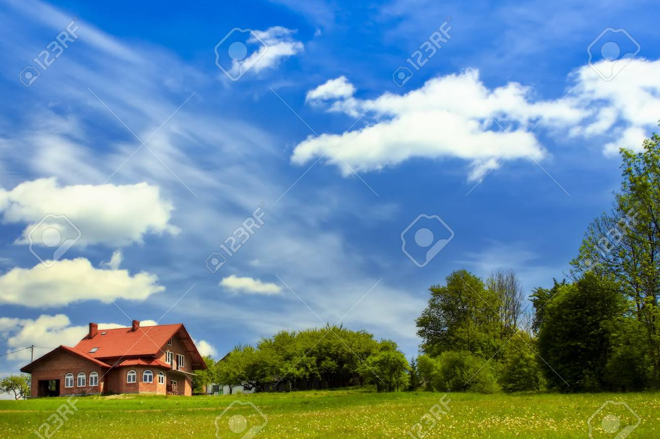 House on green field Stock Photo - 6032132