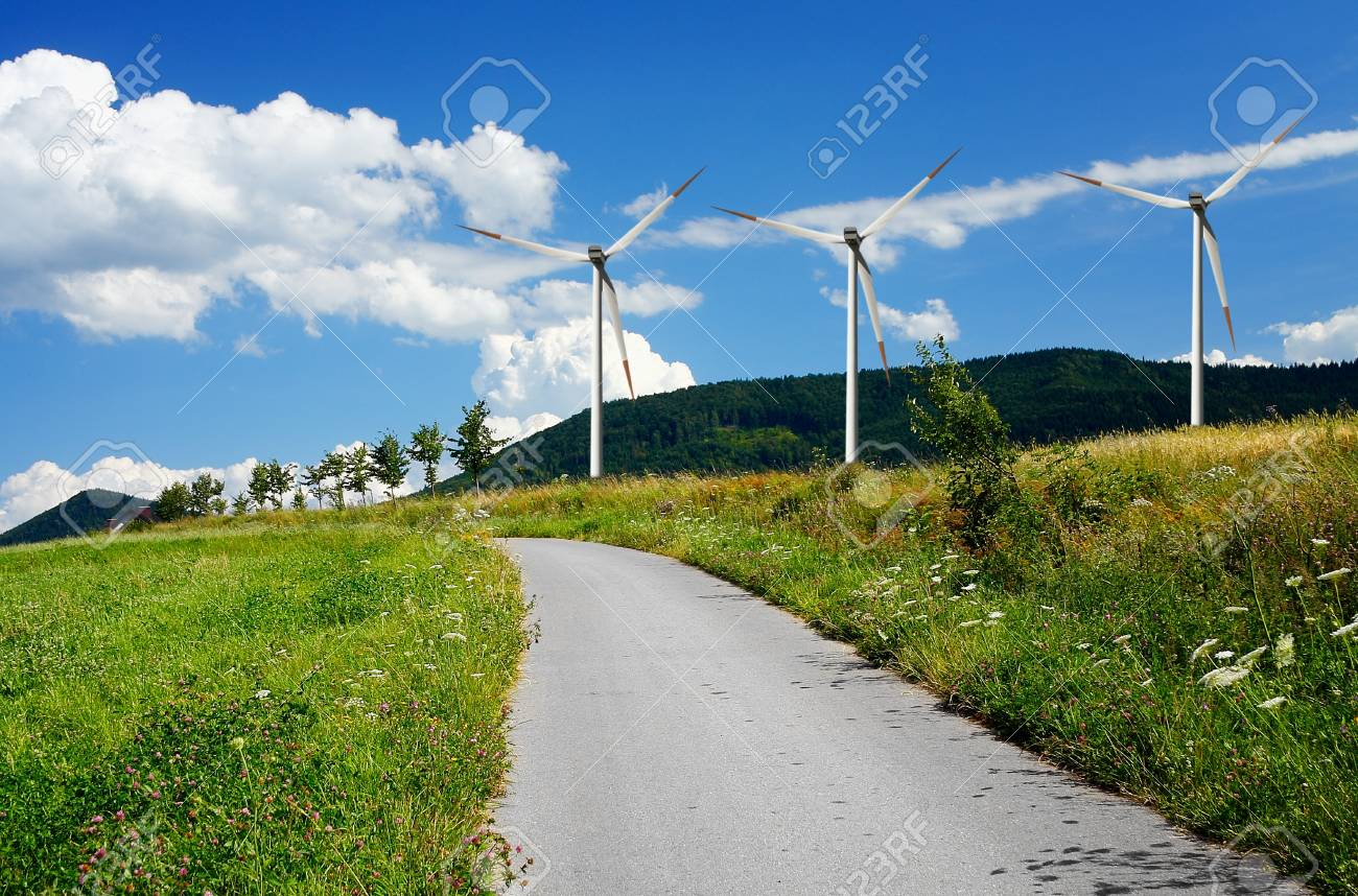 Country mountain road and wind turbines Stock Photo - 8710400