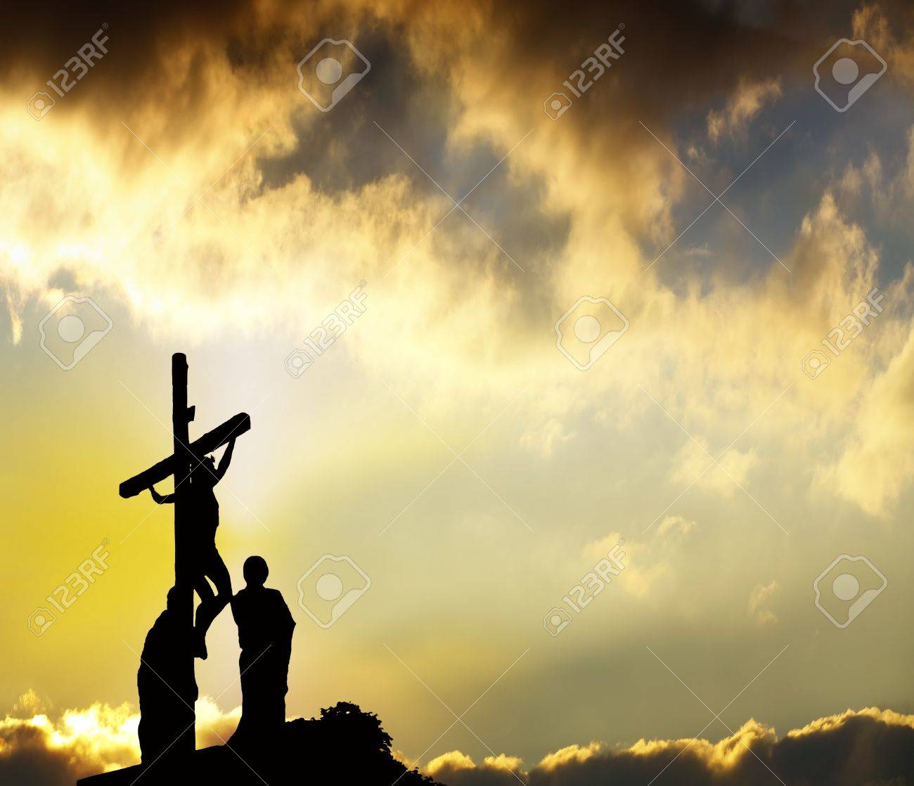 Silhouette of the holy cross on background of storm clouds stock - Calvary Forgiveness Jesus Hangs On Cross