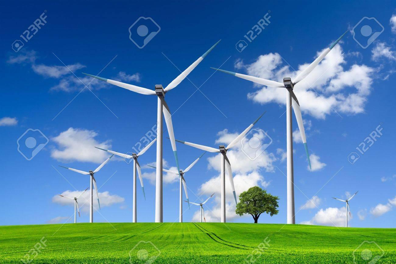 Wind turbines farm on green field - 9168253