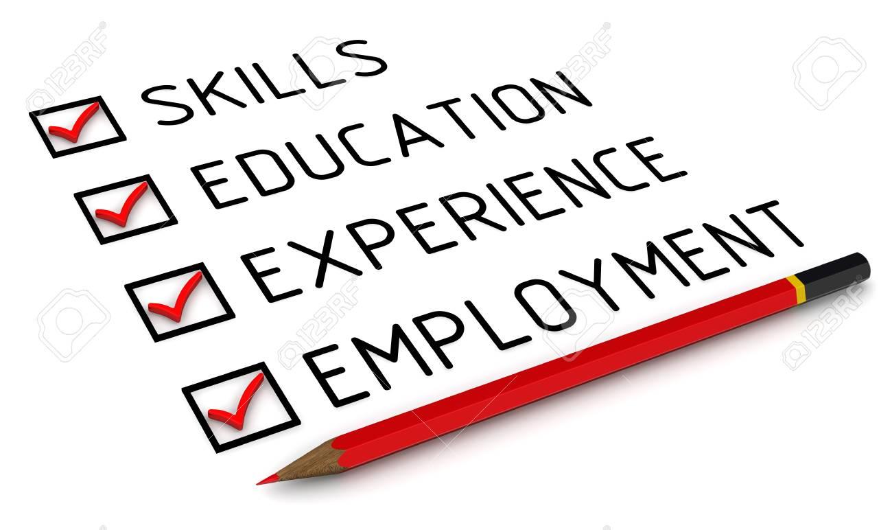 Habilidades, Educación, Experiencia, Empleo. Lista Con Las Marcas ...