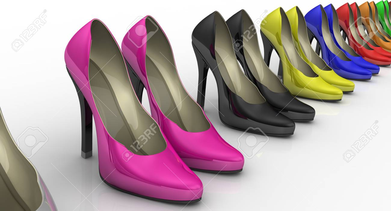 Shoes With High Heels Standing In A Row
