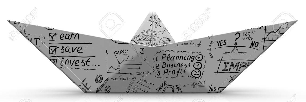 Origami Blaetter , Papierboot Von Einem Blatt Mit Geschäftsskizzen Lizenzfreie Fotos,