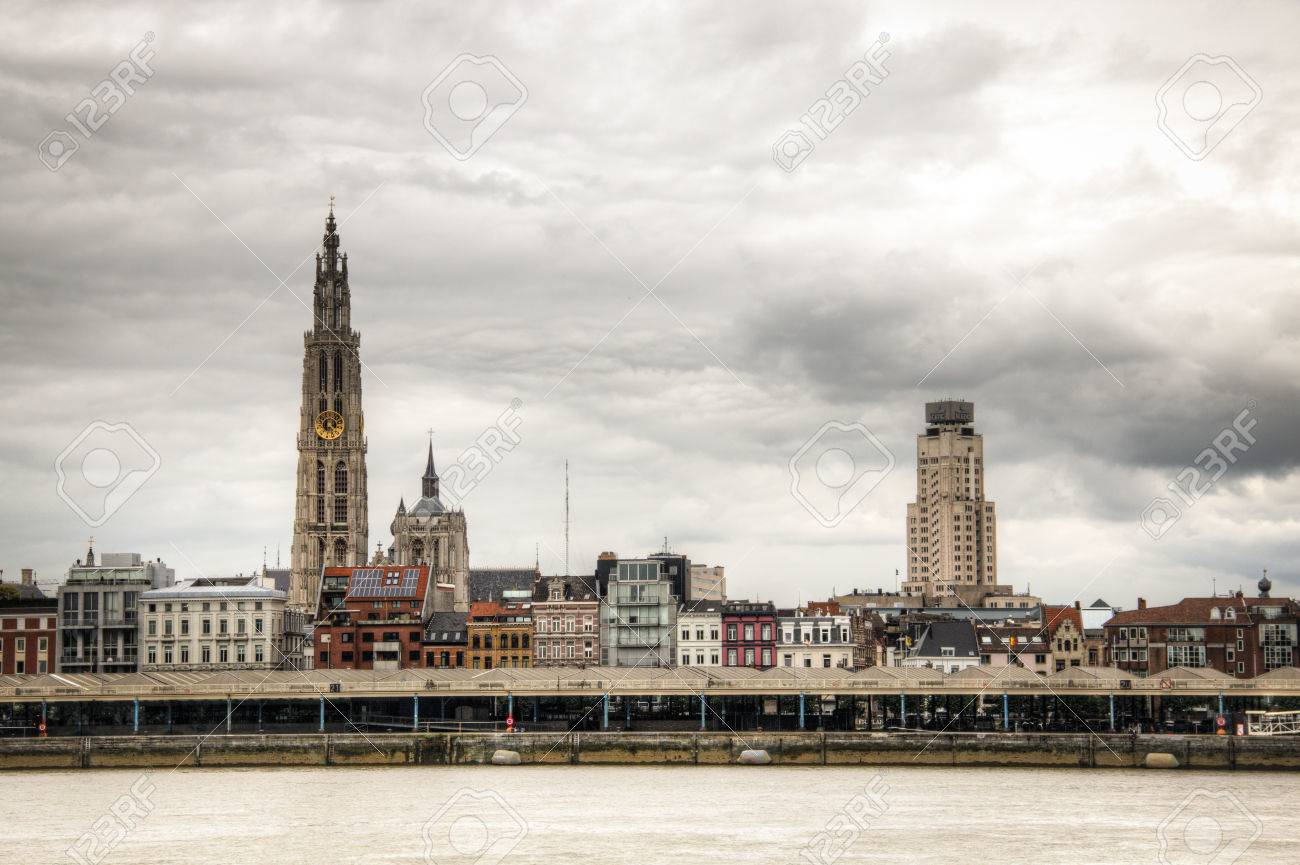 The Skyline Of Antwerp Belgium With The Schelde River Seen From Stock Photo Picture And Royalty Free Image Image 44168869