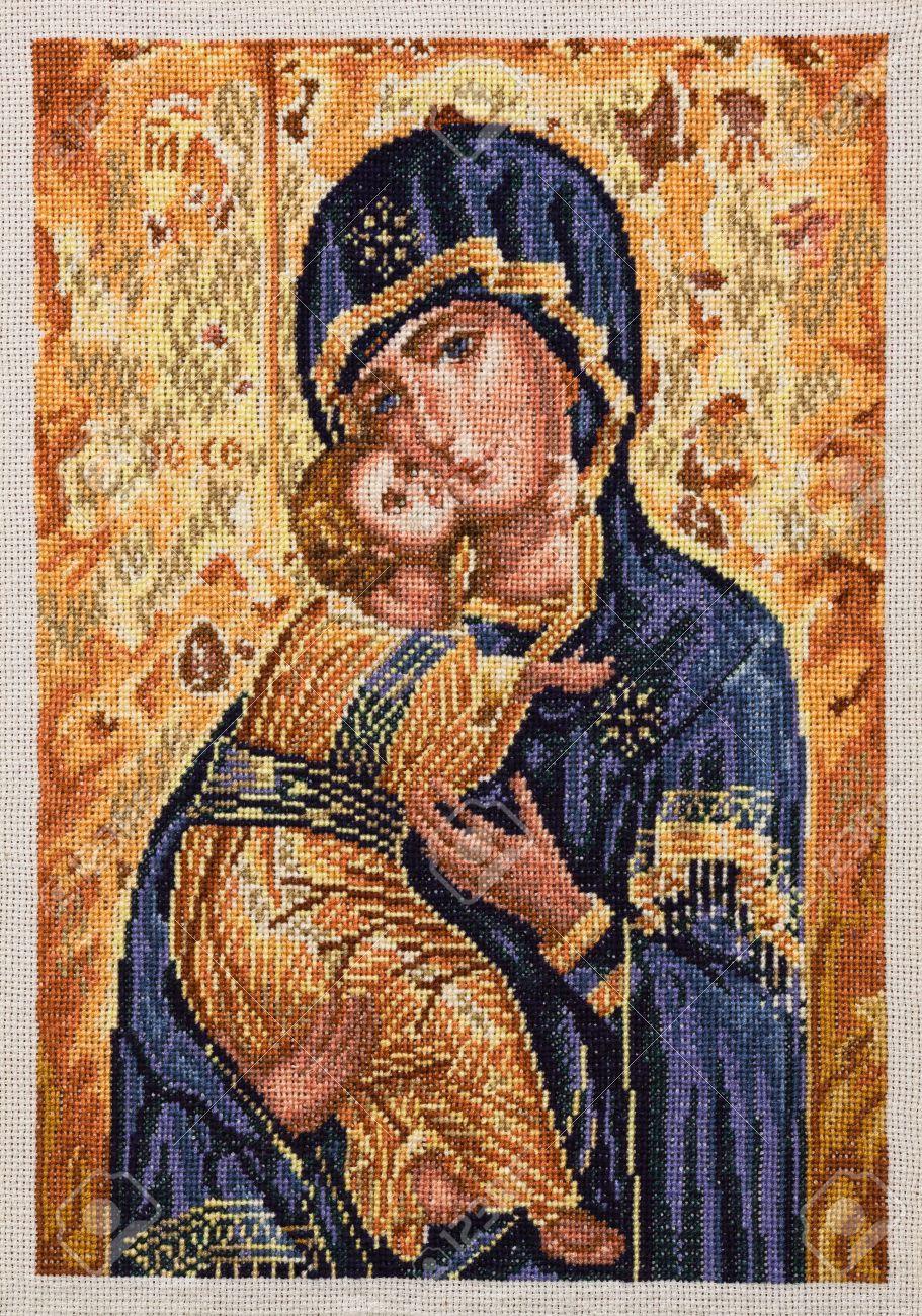Icono De Bordado Virgen María Vladymyr Con Niño Jesús Cristo Cruz