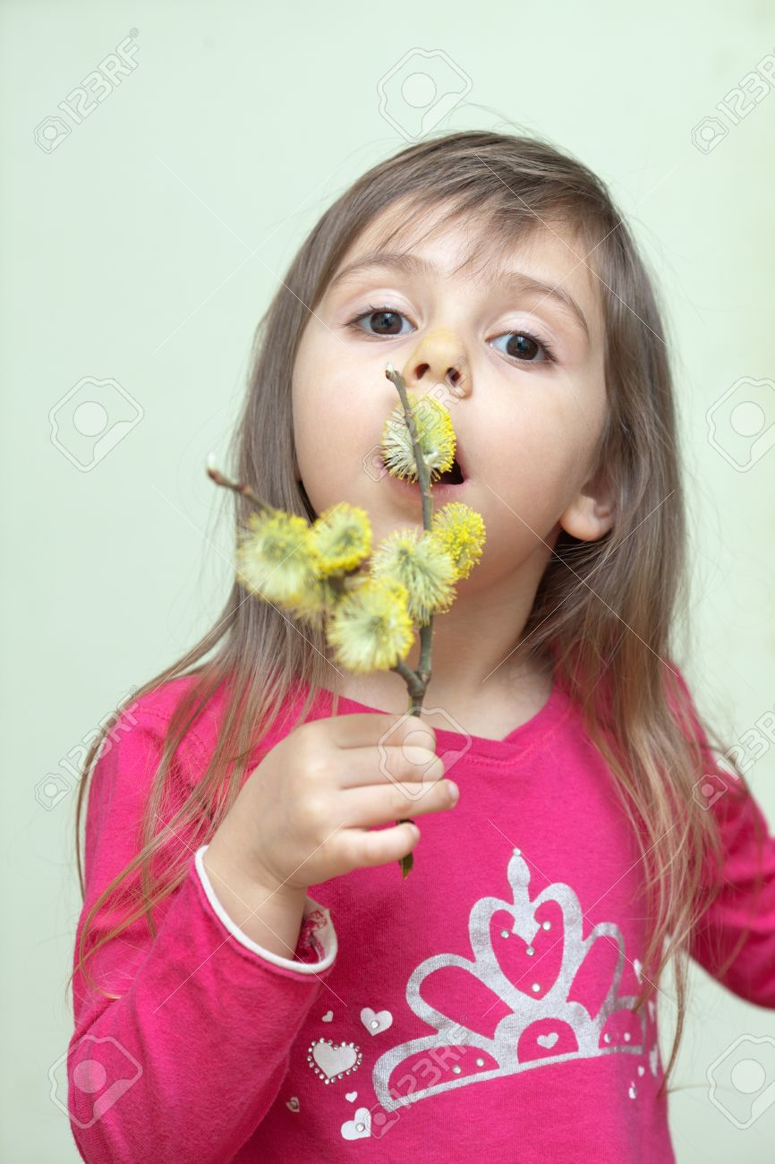 pussy little Portrait of little girl with pussy willow Stock Photo - 13295150