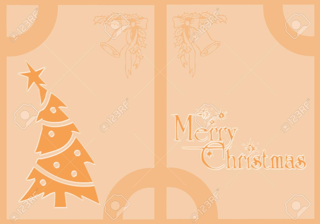 Christmas Card With Christmas Symbols And Written Merry Christmas