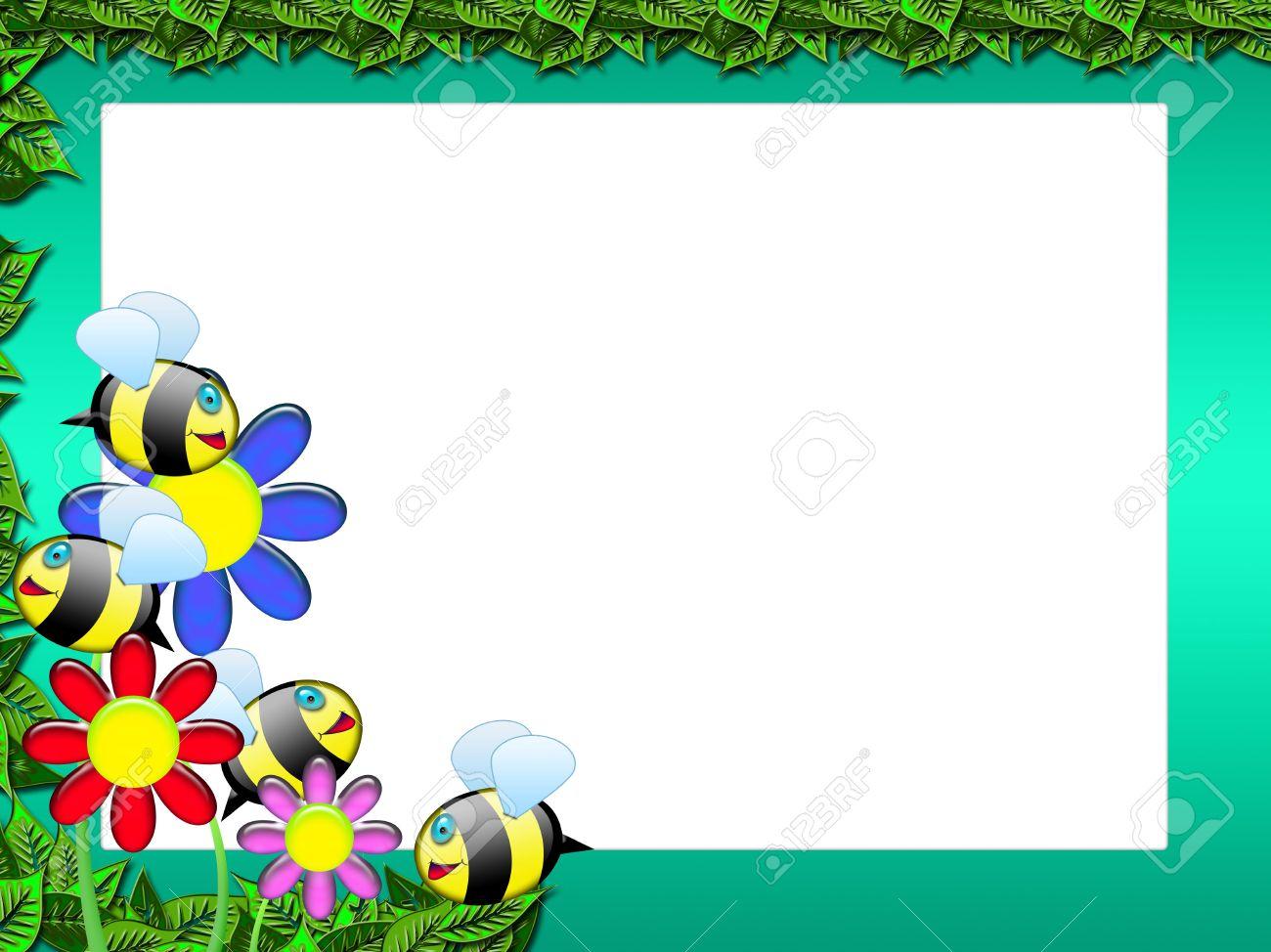 Rahmen Oder Das Gästebuch Mit Bienen Und Blumen - Photo Frame Oder ...