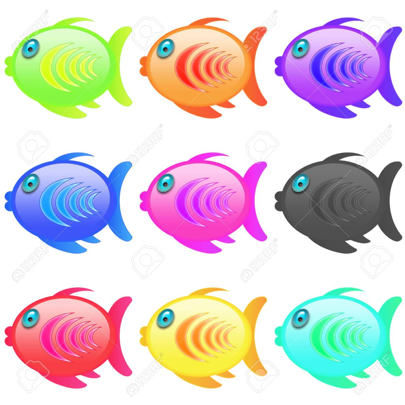 series of multicolor cartoon style icon fish Stock Photo - 5213355