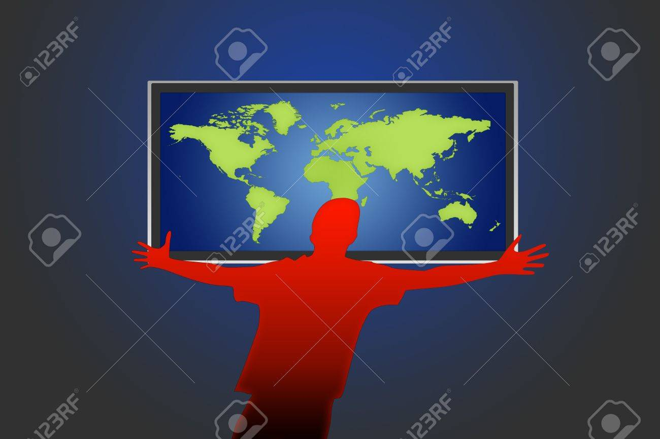 Flat Lcd Tv Liquid Crystal Display With The World And Human Figure Stock Photo