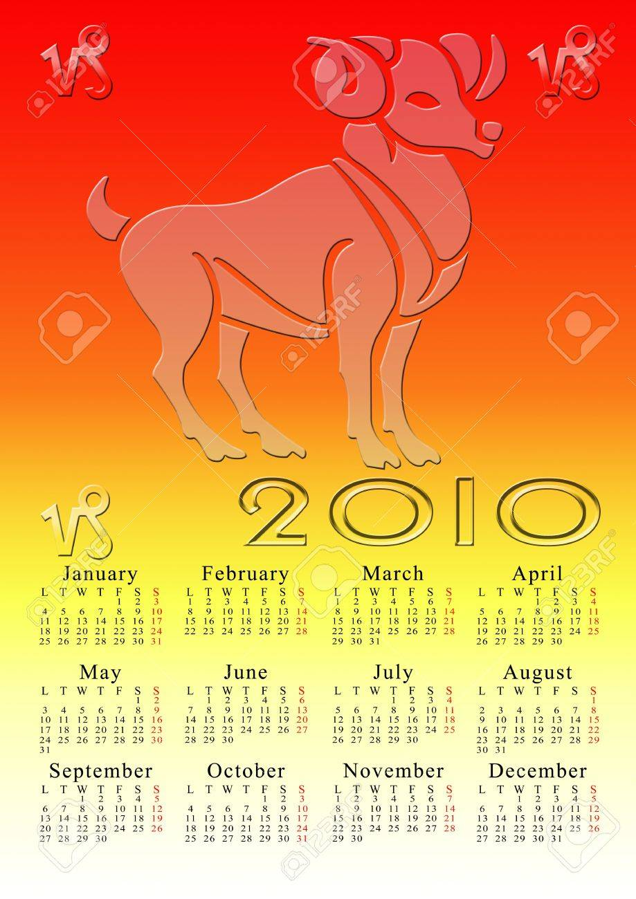 aries. calendar for the year 2010 with the astrological sign Stock Photo - 5373574