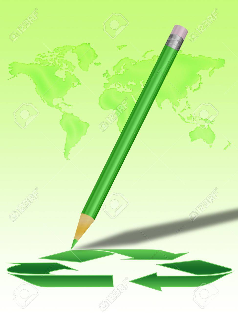 Green Pencil Drawing The Recycling Symbol Map Of The Earth In