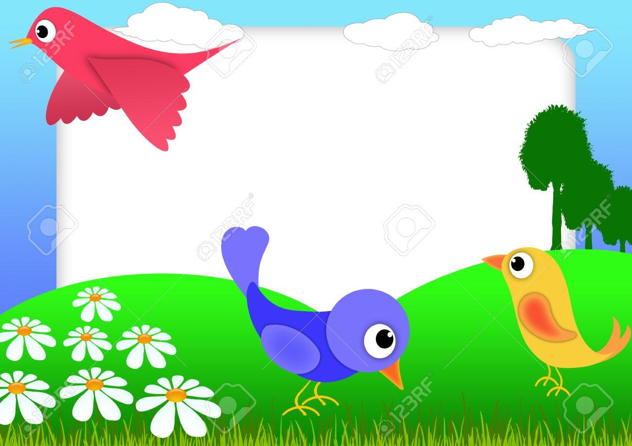 Bloc De Notas De Niño Con Pájaros Y Flores - Marcos De Fotos De La ...