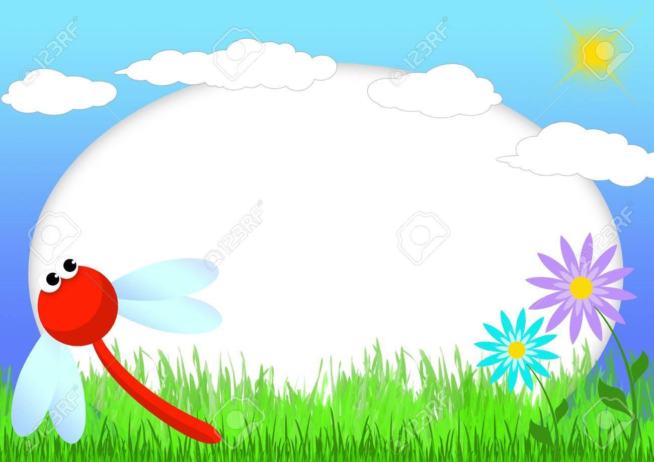 Kid Scrapbook Mit Libelle Und Blumen - Abbildung Bilderrahmen Für ...