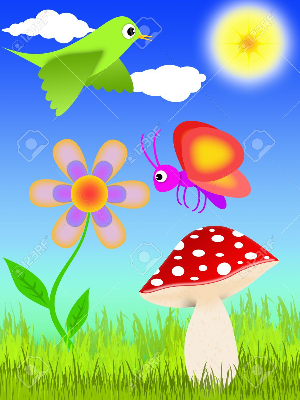 cartoon-style illustration of a lawn with mushroom, flower, bird and butterfly Stock Illustration - 9379253