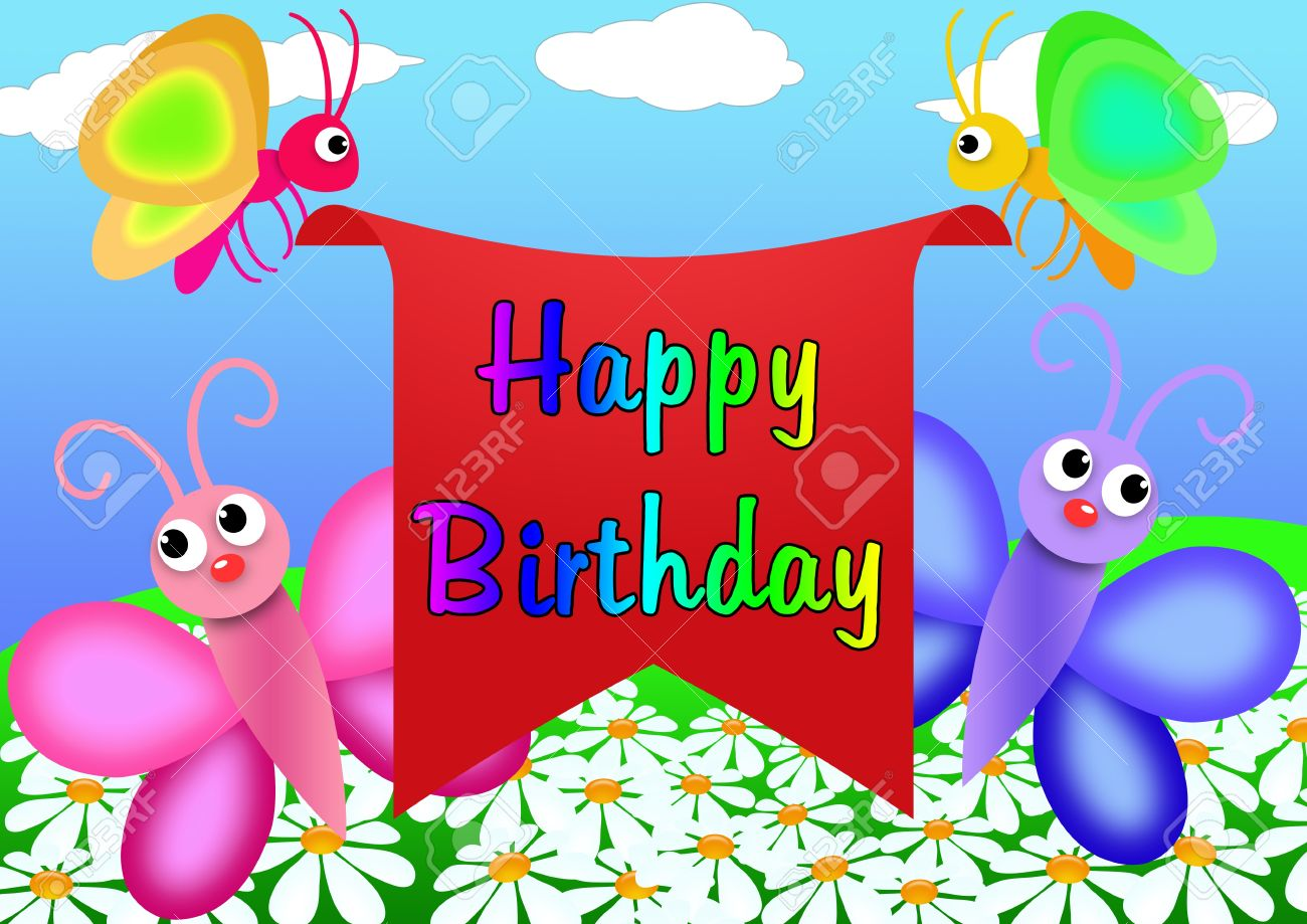 Happy Birthday Greeting Card To Draw In Cartoon Style Stock Photo