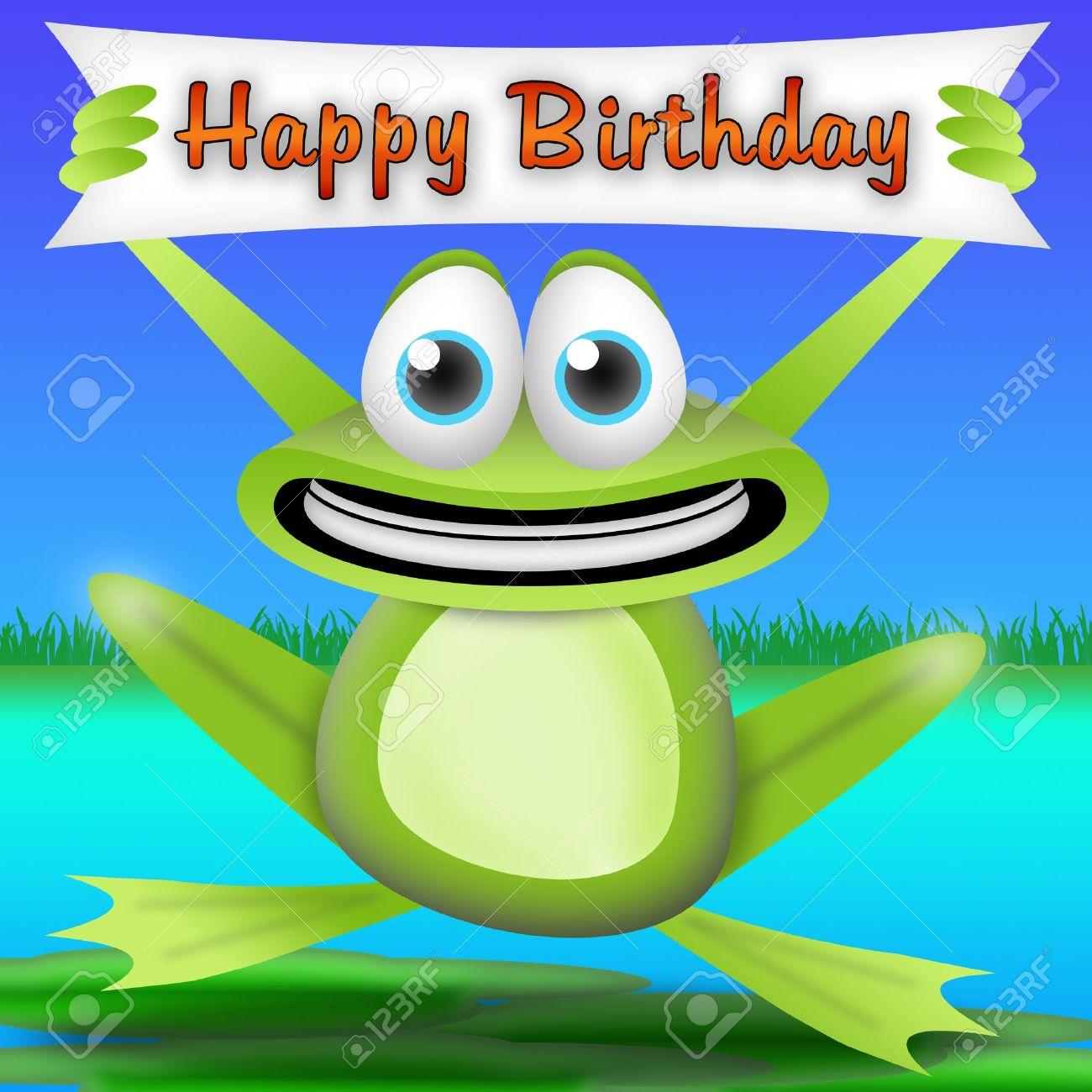 rana de dibujos animados con una pancarta de feliz cumpleaos tarjeta de felicitacin para nios
