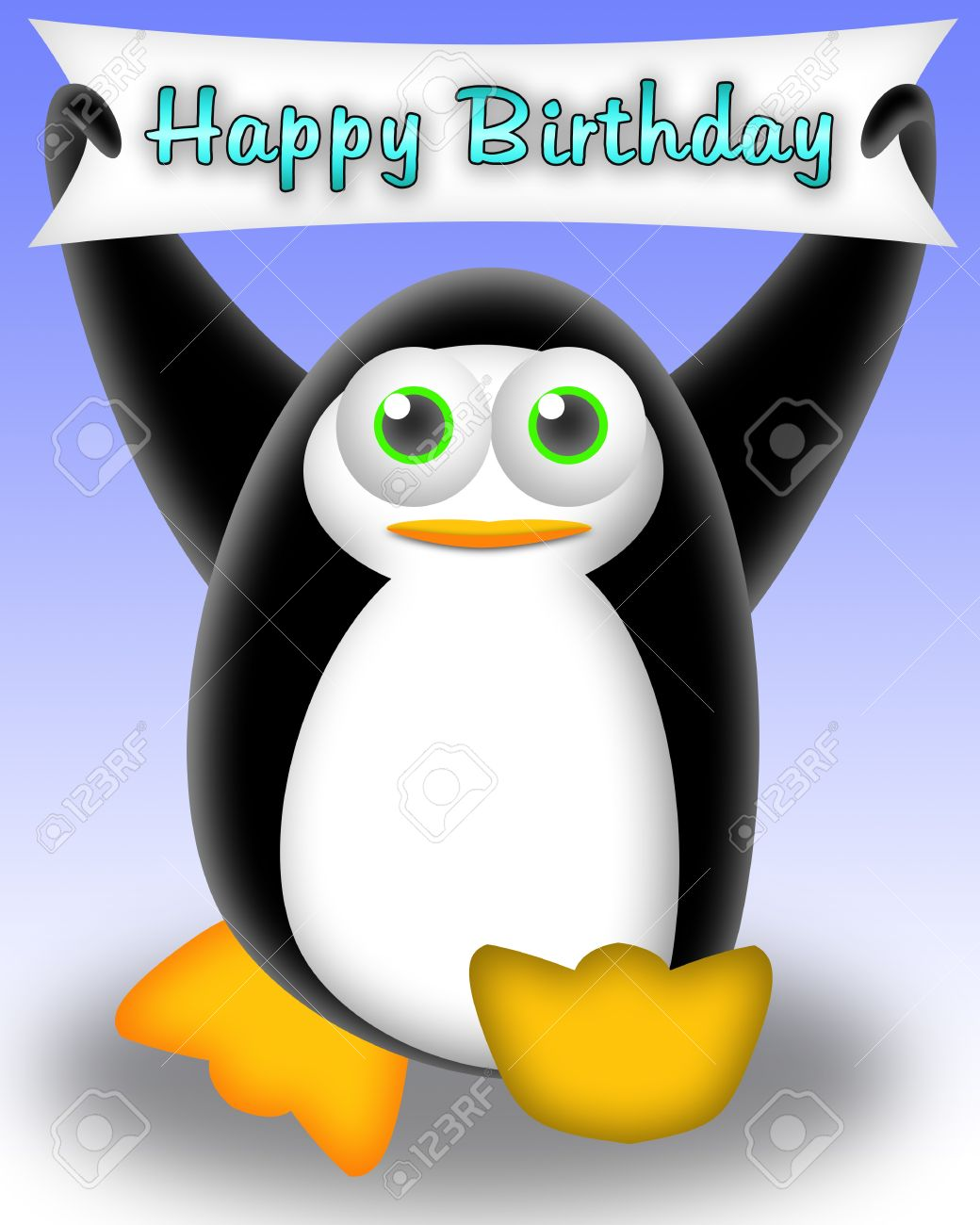 cartoon penguin with a happy birthday banner. greeting card for kids Stock Photo - 9451772