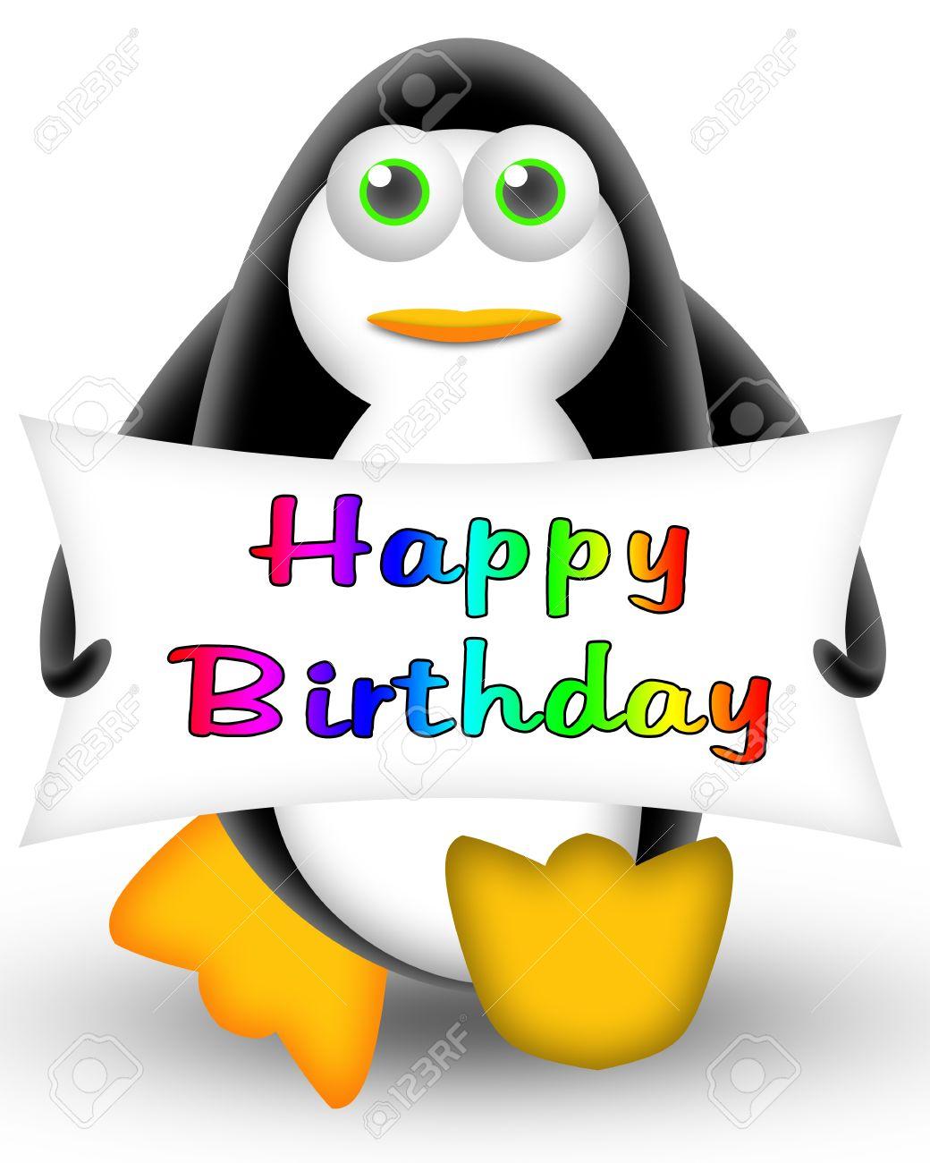 Cartoon Pinguin Mit Einer Schlagzeile Alles Gute Zum Geburtstag