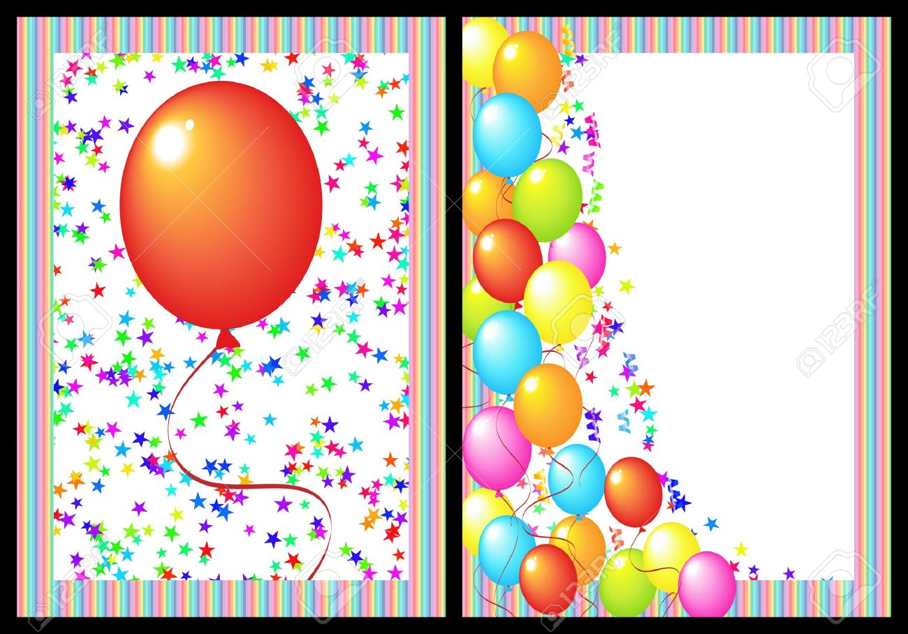 Happy Birthday Greeting Card With Balloon And Star Includes Stock