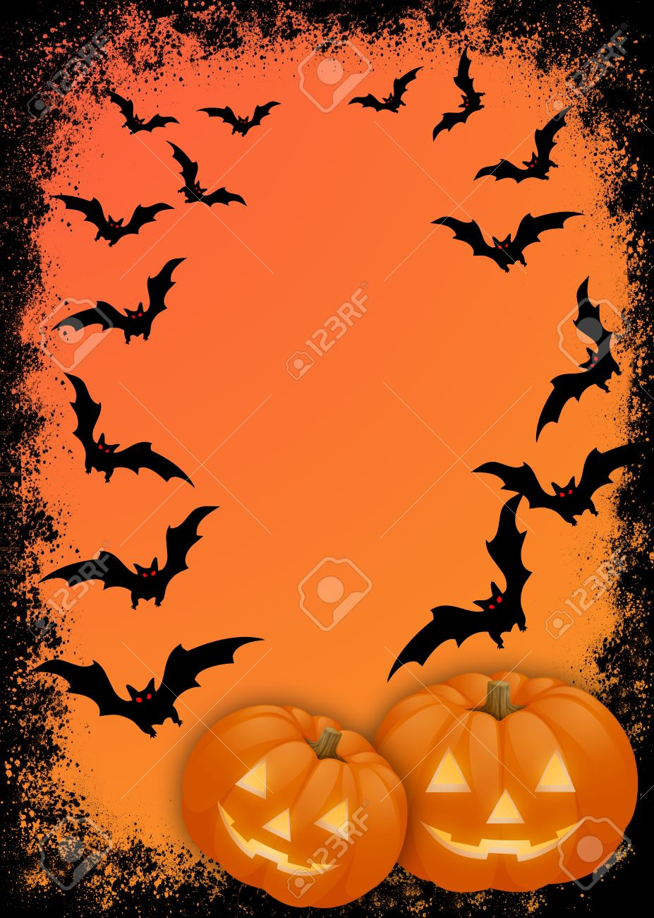 Halloween Invitation Card For The Party Or Background With Elements Of