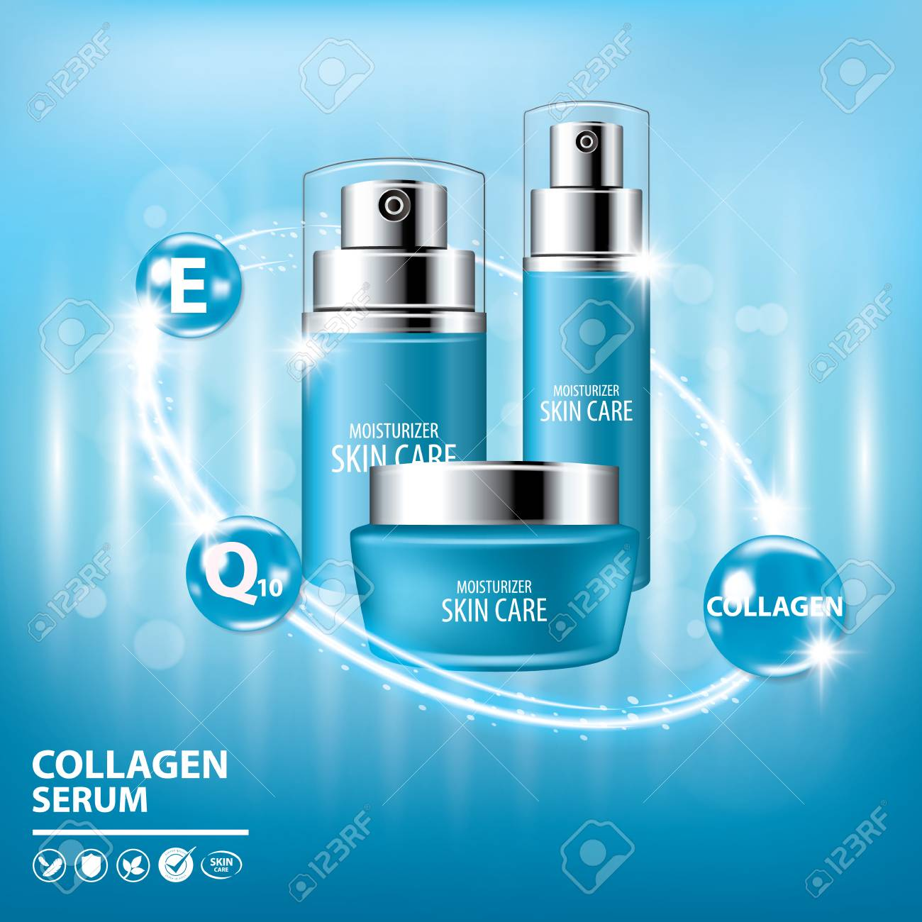 Blue Collagen Vitamin Skin Care Cream Serum Banner Background Royalty Free Cliparts Vectors And Stock Illustration Image 96621325