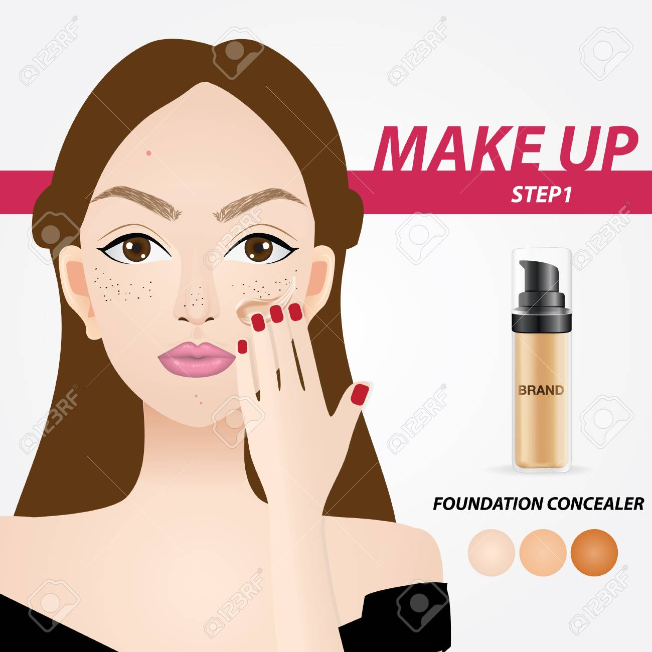 How To Apply Foundation Vector Illustration Royalty Free Cliparts Vectors And Stock Illustration Image 100635033