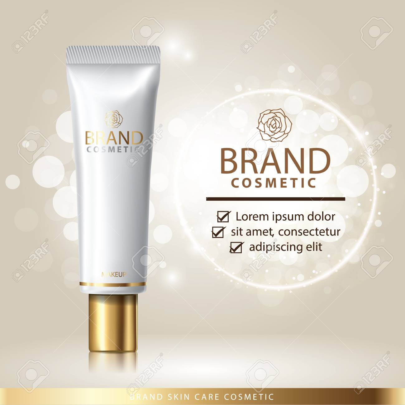 Gold Package Skin Care Cream Banner Vector Illustration Royalty Free Cliparts Vectors And Stock Illustration Image 113127523