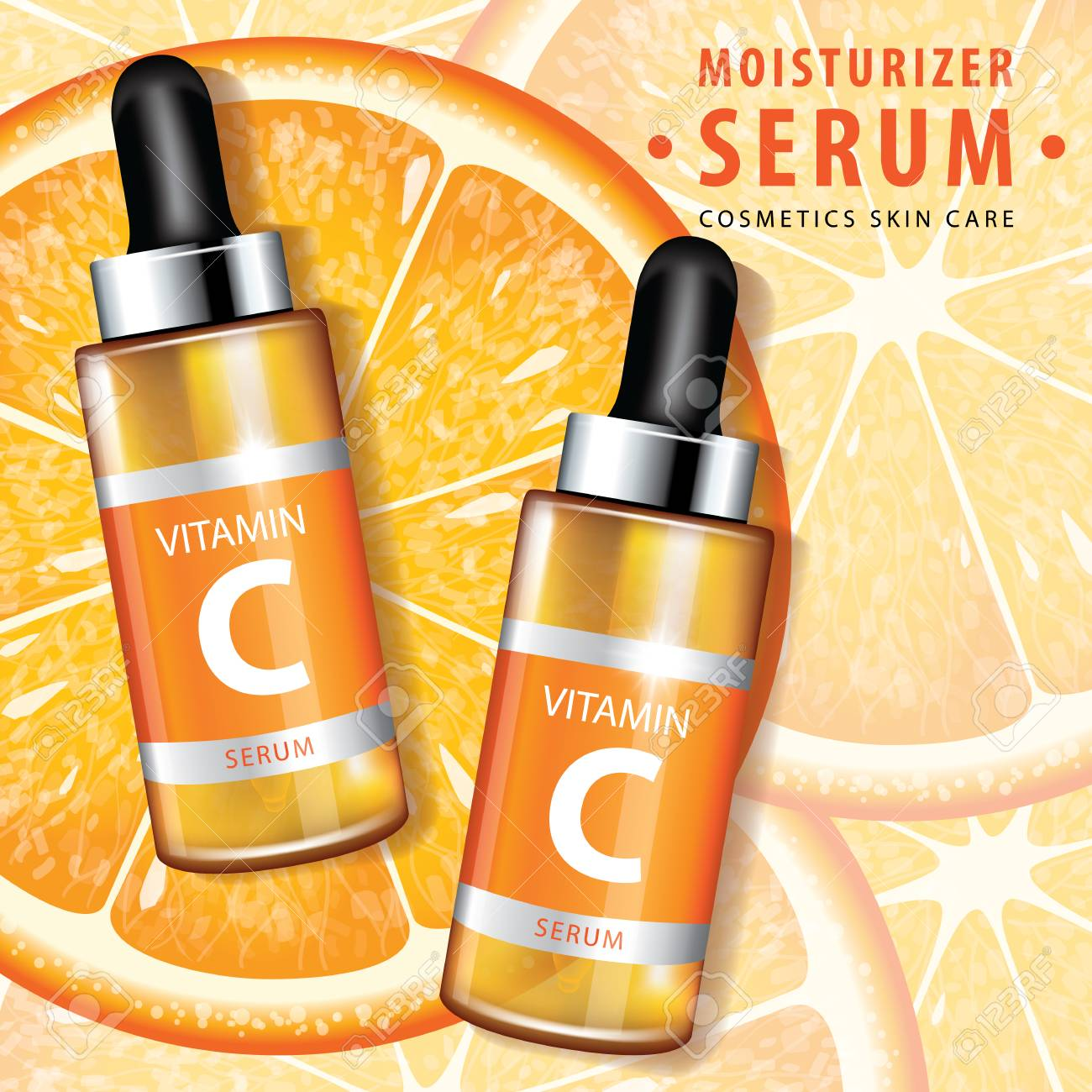 Orange Collagen Vitamin Skin Care Serum Banner Vector Illustration Royalty Free Cliparts Vectors And Stock Illustration Image 113127627