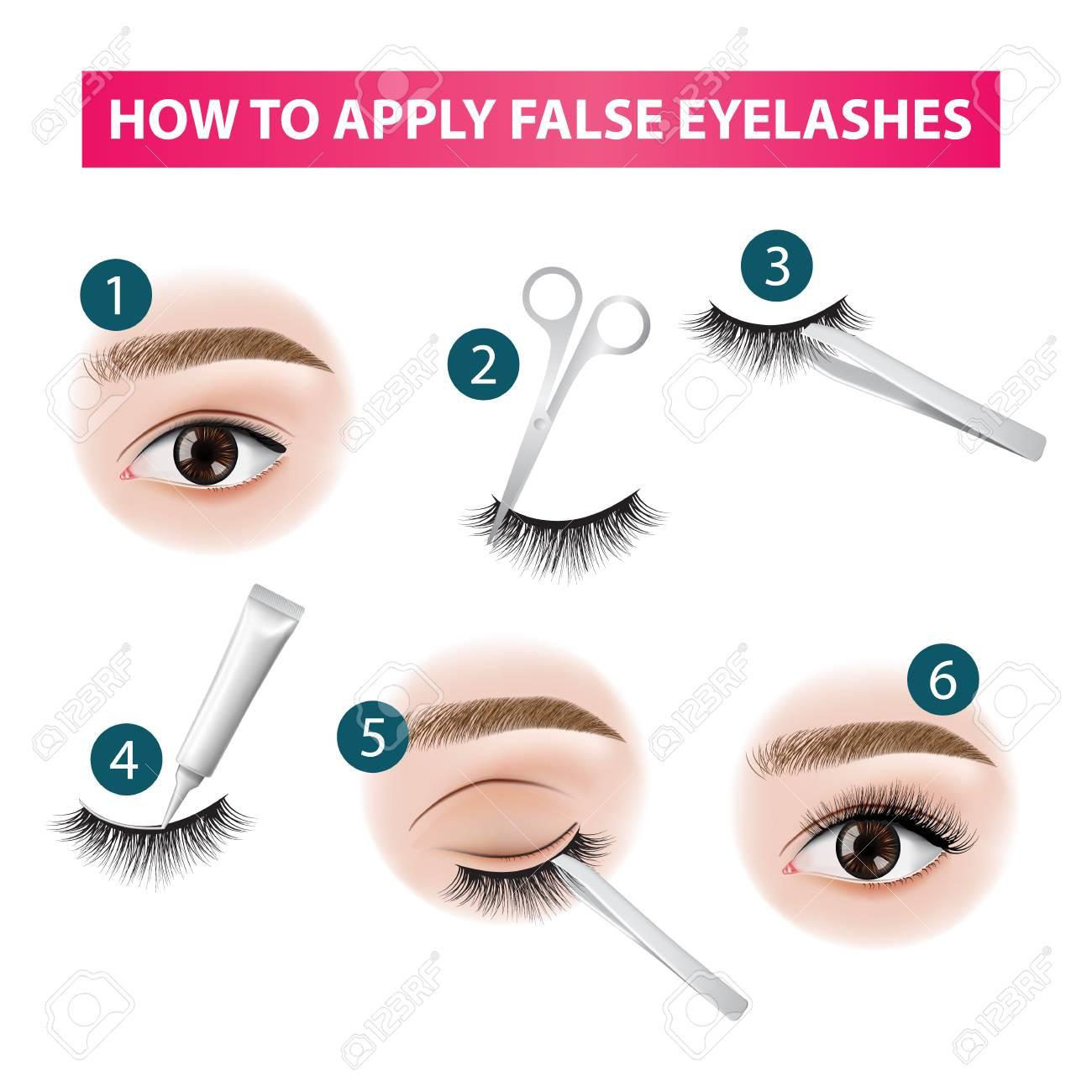 How to apply false eyelashes vector illustration - 113127781