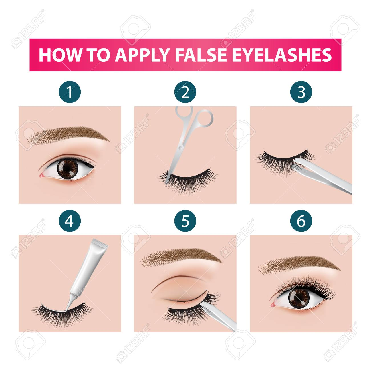 How to apply false eyelashes vector illustration - 113127783