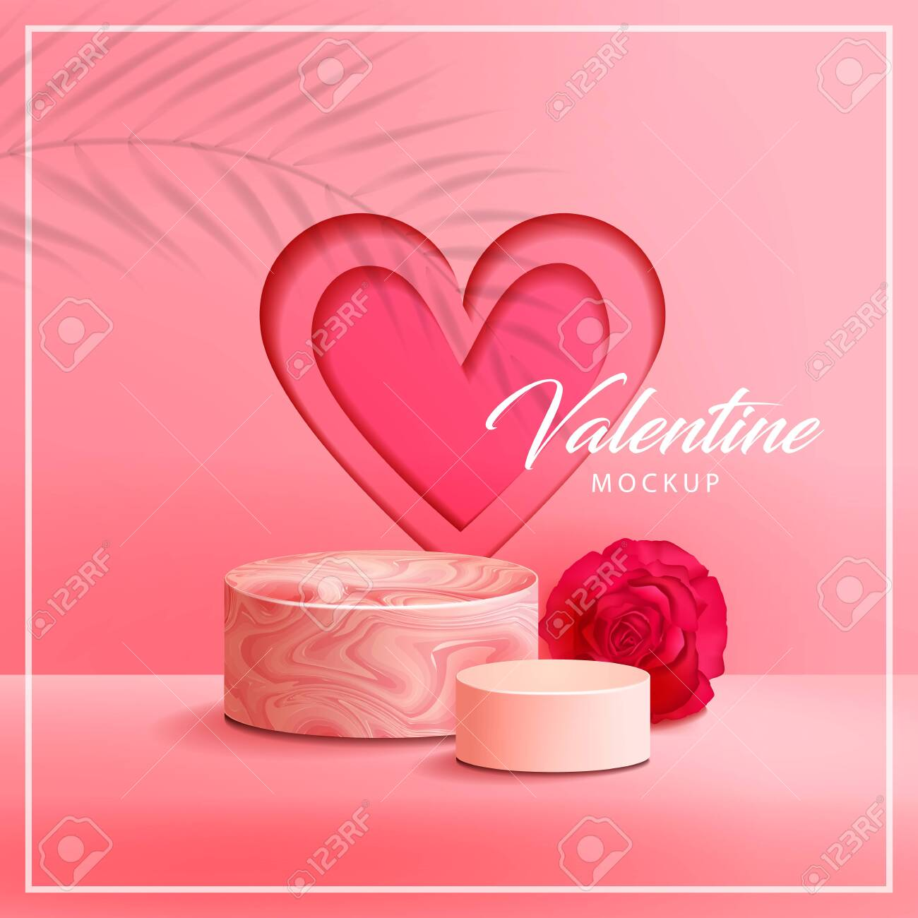 Pink Marble Texture With Round Podium Rose And Heart Background Royalty Free Cliparts Vectors And Stock Illustration Image 140134846