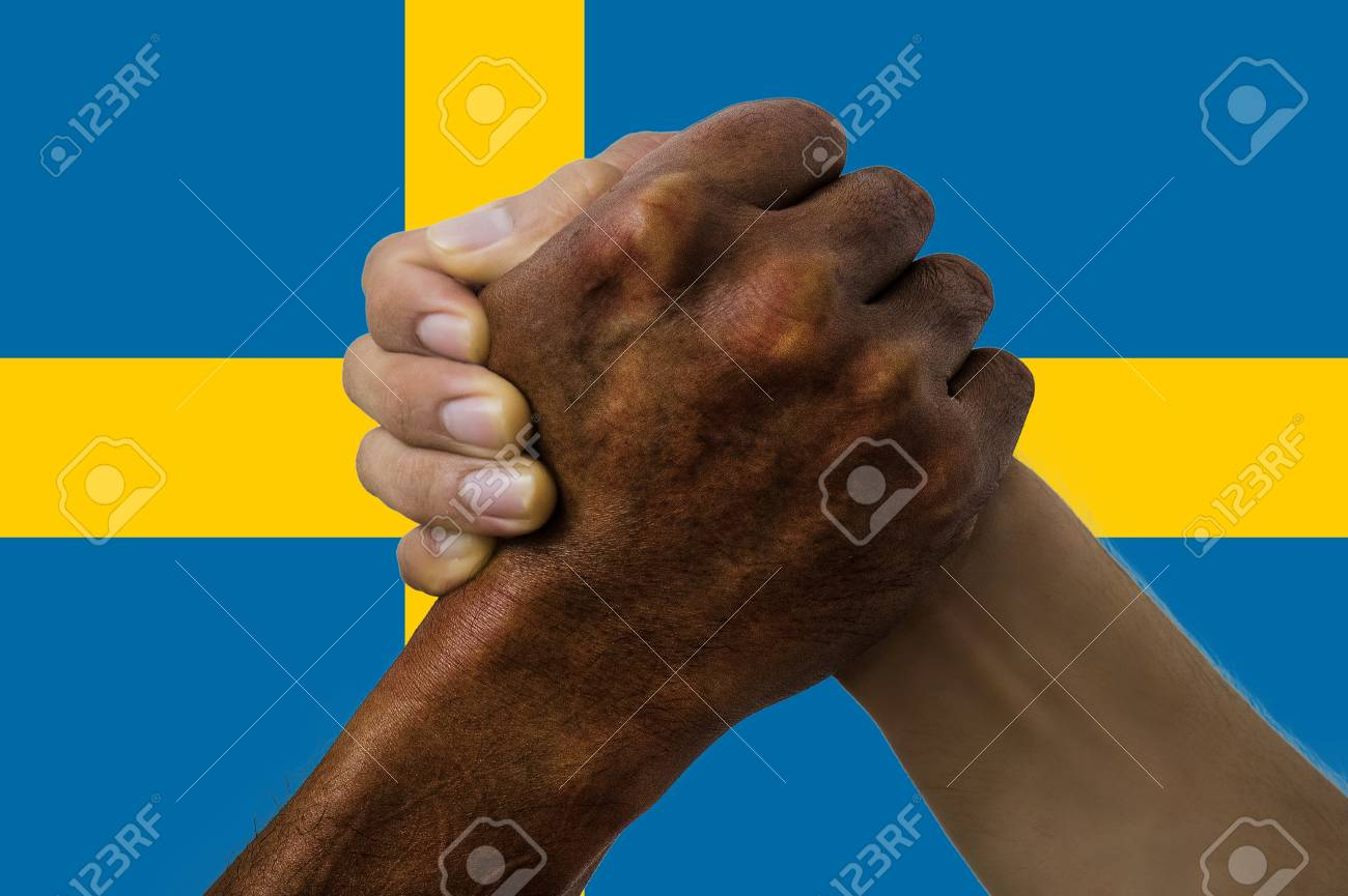 Sweden flag, intergration of a multicultural group of young people. - 125359827