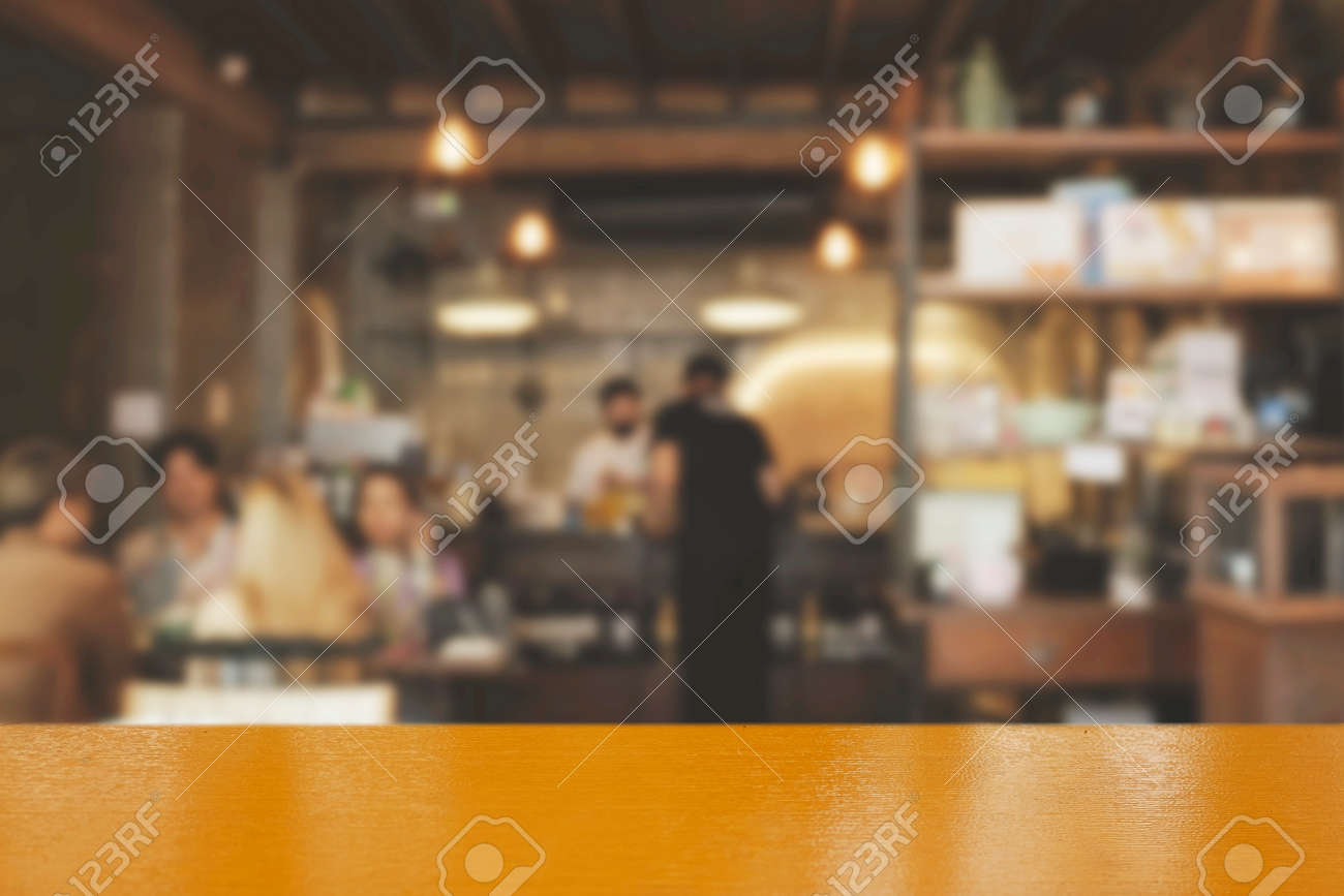 Blur coffee shop or cafe restaurant with abstract bokeh light image background. People in store Blur Background or design key visual layout - 165253447